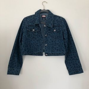3 for $9 Leopard Print Cropped Jean Jacket